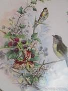 Szecessziós fajansz tálca madárkákkal
