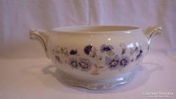 Zsolnay porcelán búzavirágos leveses tál fedő nélkül