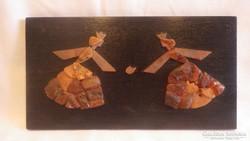 Királynők borostyán falikép