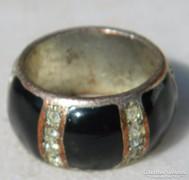 Antik ezüstözött köves bronz gyűrű