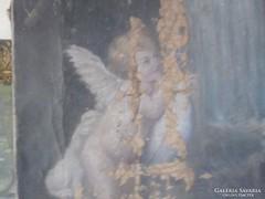 Antik angyalkás festmény olaj vászon Marselek E 60 cm x 30 c