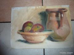 Csendélet almákkal, régi olaj-karton 1935-ből, évszám jelz.