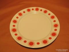 Retro Alföldi piros pöttyös kis tányér és 2 db csészealj
