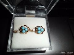 Antik arany fülbevaló türkizekkel