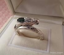 Sárkány forma ezüst gyűrű köves