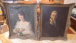 Antik úri pár olaj-vászon festmény pár blondel keretben