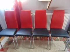 Formatervezett, piros-fekete csővázas retro szék