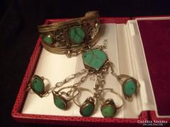 Állítható Karperec gyűrűkkel,türkizkővel ritkaság