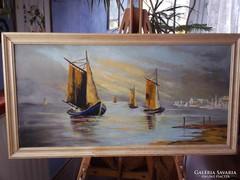 Tengerparti hajók kikötővel