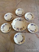 Zsolnay búzavirág mintás gyönyörű  6 sz. süteményes készlet