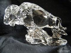 Nagy méretű ólomkristály bölényszobor