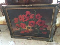 Sztelek Norbert nagyméretű gyönyörű pipacsos virágcsendélet