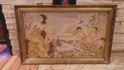 Arany - fa képkeret gobelinnel falc 49x83 cm