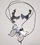 Pillangós ezüst fülbevaló és nyaklánc