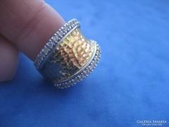 Sterling ezüst aranyozott gyűrű cirkon kövekkel