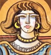 Scheiber Hugó (1873-1950): Sárga gyöngysoros hölgy