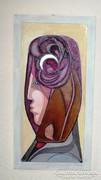 Meditáció 43 x 22 cm olaj- farost