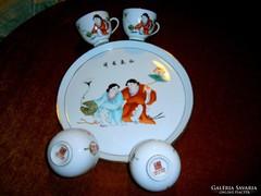 5 db kézi festett kínai porcelán Tálca+ 4 csésze