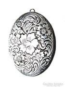 Antik ezüst nyitható fényképtartó ovális medál