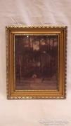 Üvegezett arany-fa képkeret falc 22x18 cm