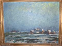Tőkés Sándor : Tanya télen c. festménye