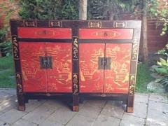 Keleti, kínai kézzel festett komód. Igazi kézműves bútor!