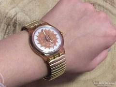 Swatch aranyozott automata férfi /unisex rugalmas óra