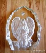 Angyalkás üveg dísz, levélnehezék.... 17.5 x 13 cm