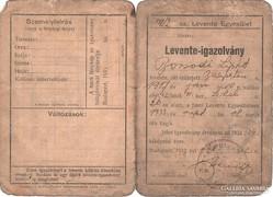 Levente igazolvány - 1933
