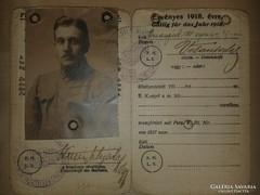 I. világháborús katonai igazolvány és iratok.