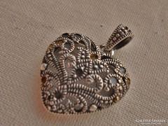 Csodás régi markazitos  ezüstmedál