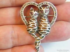 Cica medál,rubin szemű cicapár,925-ös ezüst