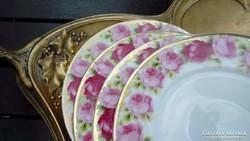 Régi rózsás süteményes tányérok 4db