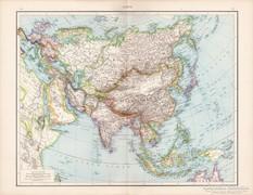 Ázsia térkép 1881, német, eredeti, régi