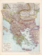 Balkán - félsziget térkép 1881, német, eredeti, régi