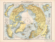 Északi - sarkvidék térkép 1881, német, eredeti, XIX. századi