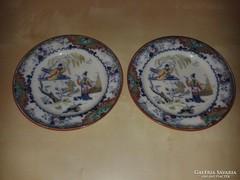 Porcelán tányérpár, kínai stílusban, kerti jelenettel 1900 k
