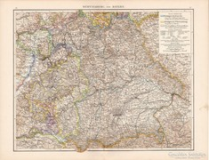 Württemberg ás Bajorország térkép 1881, német, eredeti, régi