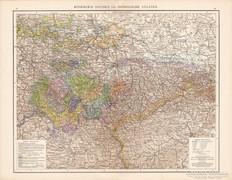 Szász királyság és a Türingiai államok térkép 1881, német