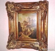 ANTIK 1860 FESTMÉNY MESTERMŰ, LUXUS ARANY KERET,TÁJKÉP
