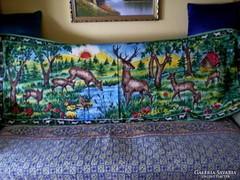 Antik festett erdei jelenetes faliszőnyeg, falikárpit