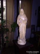 Szúz Mária szobor, kéz nélkül, festett gipsz. 65 cm magas