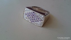 Ezüst gyűrű cirkonnal és ametisztel díszítve 925