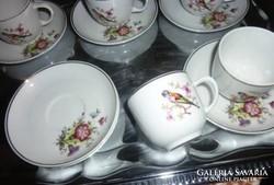 Hollóházi madaras porcelán, 5 db-os kávéskészlet
