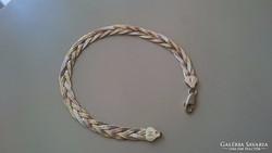 Ezüst 3 színű fonott karlánc, karkötő 925
