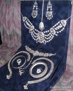 Gyönyörű antik ezüst szett, rubin és smaragd, színezüst!