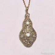 Antik Art Deco 14K Arany Medál Gyémántokkal
