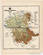 Komárom vármegye térkép 1894, régi, antik, eredeti