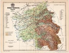 Bihar vármegye térkép 1896, régi, antik, eredeti