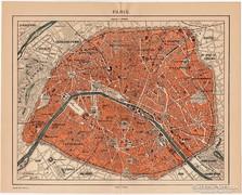 Párizs térkép 1898, Pallas, régi, antik, eredeti